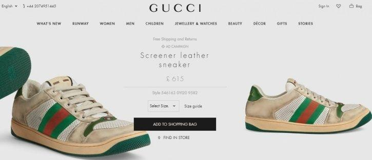 0cd6b15f7e3 Gucci Gucci Is Selling  Vintage  Dirty White Sneakers For Rs 55