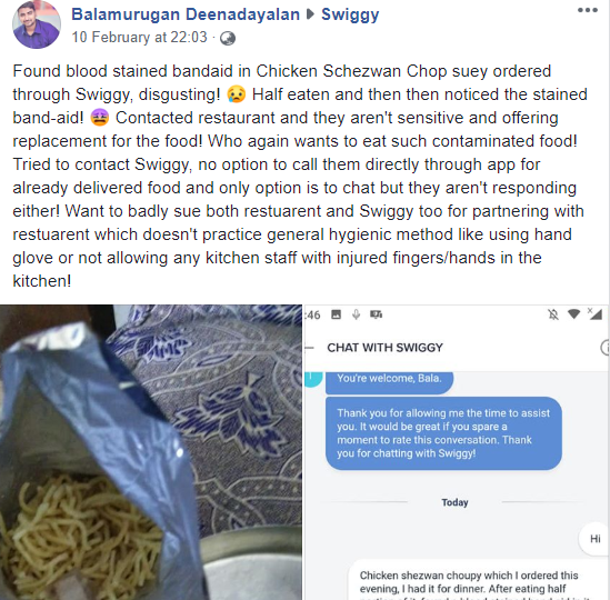 Image result for food with used bandage found chennai