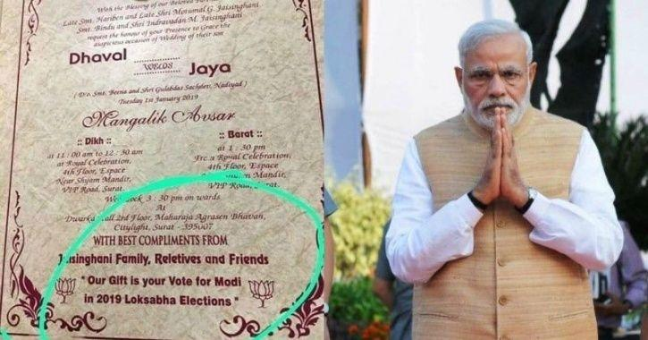 This Is Unique Couples Are Now Asking Guests To Vote For Pm Modi As