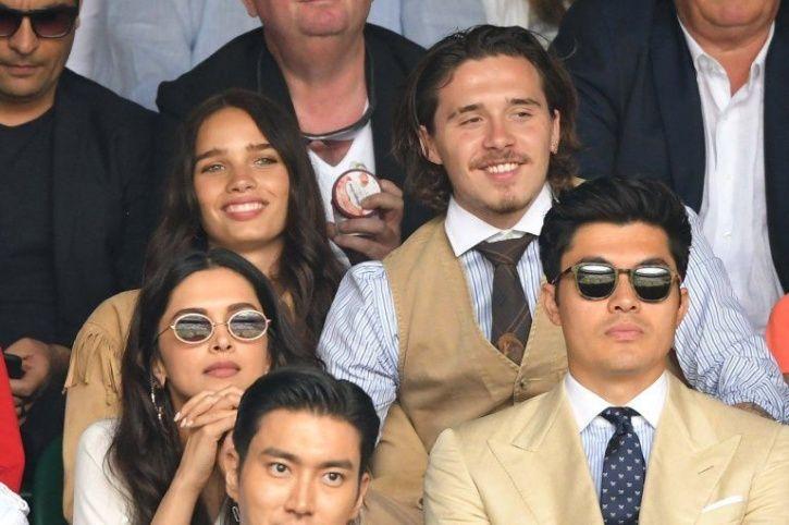 Brooklyn Beckham with girlfriend Hana Cross at Wimbledon finale.