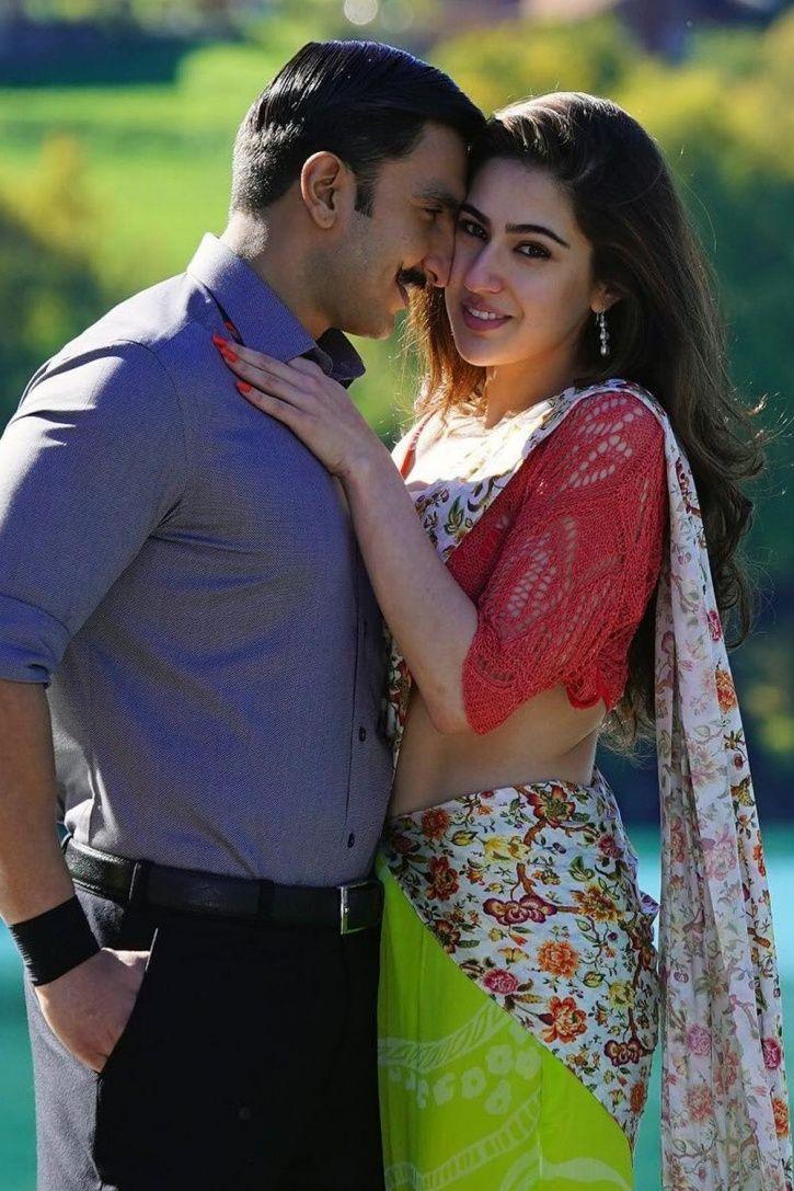 Sara Ali Khan with Ranveer Singh.