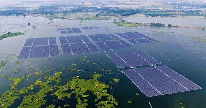 solar farm sea, floating solar power, floating solar farm, solar power climate change, clean energy,