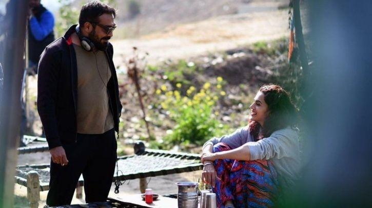 A still of Anurag Kashyap and Taapsee Pannu from the sets of Manmarziyaan.