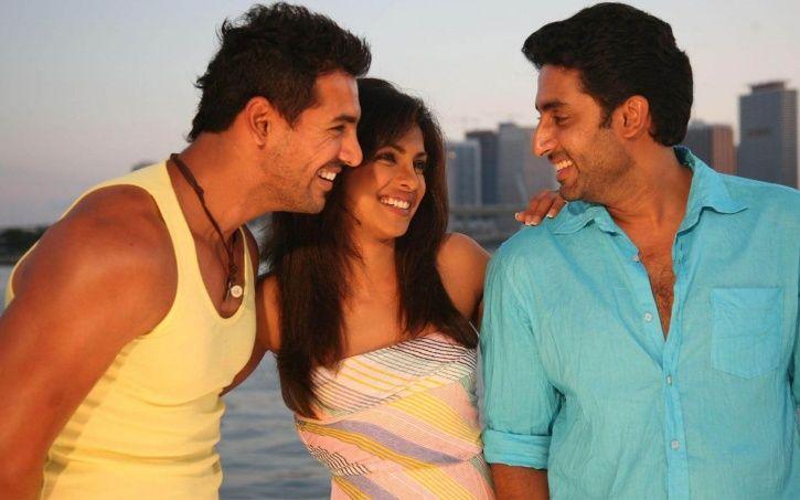 A still of John Abraham, Priyanka Chopra and Abhishek Bachchan in Dostana.
