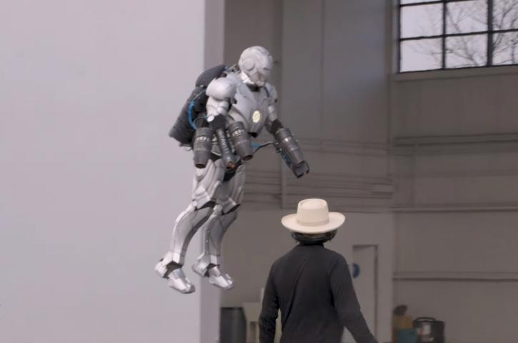 Flyinf Iron Man suit.