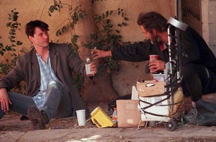 Keanu Reeves with homeless man.