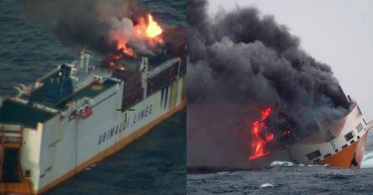 Ship Carrying Cars Sinks:Cargo Ship Carrying Luxury Cars