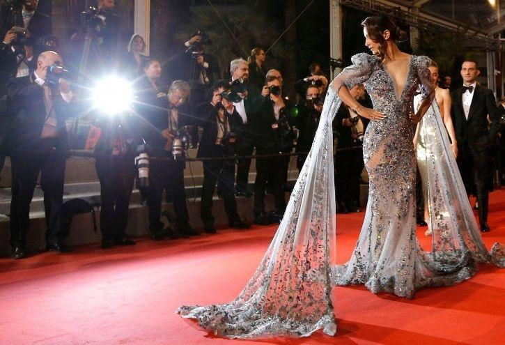 Hina Khan at Cannes Film Festival red carpet for her short film Lines.