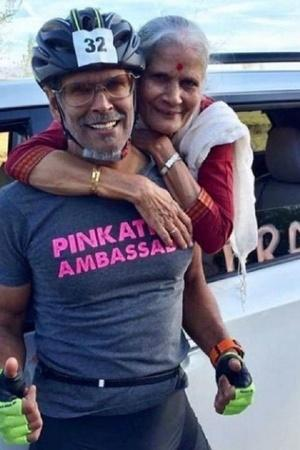 Milind Soman and Mother