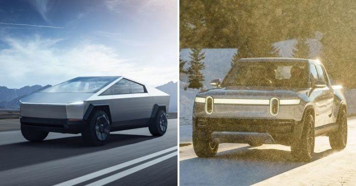 Tesla Cybertruck, Tesla Electric Pickup Truck, Rivian R1T, Tesla Cybertruck vs Rivian R1T, Rivian R1