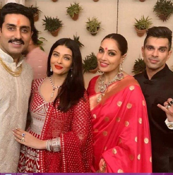 Aishwarya Rai and Abhishek Bachchan at Diwali Party.