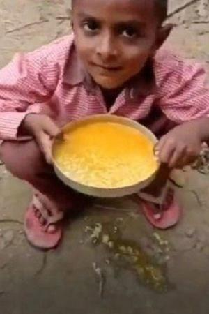 Primary School Students TurmericRice MidDay Meal uttar pradesh Uttar Pradesh government yogi