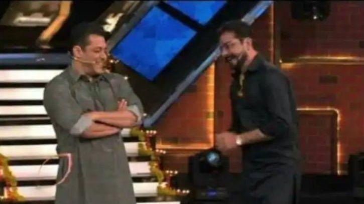 Salman Khan with Hindustani Bhau in Bigg Boss 13.
