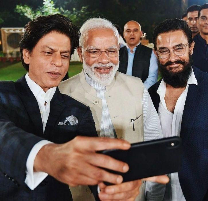 Shah Rukh Khan, Aamir Khan with PM Narendra Modi at Change Within Meet. South Indian industry ignore