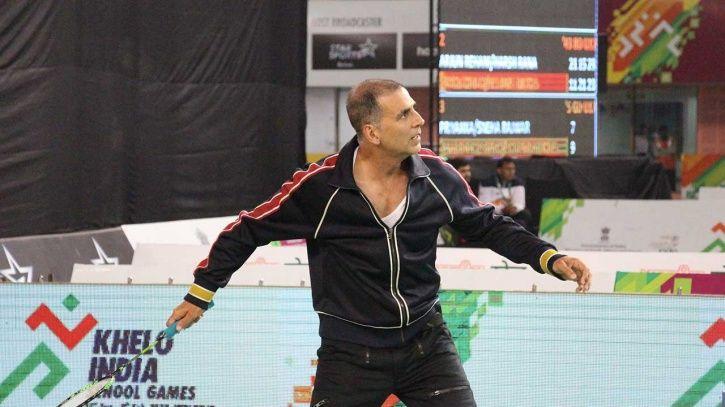 Akshay Kumar playing badminton.