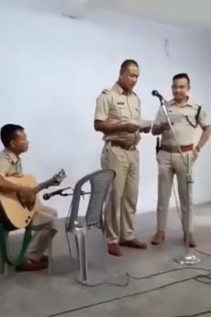 Amidst Horrific Videos Of Police Atrocities Meghalaya Cops Play Guitar Sing For Students Against