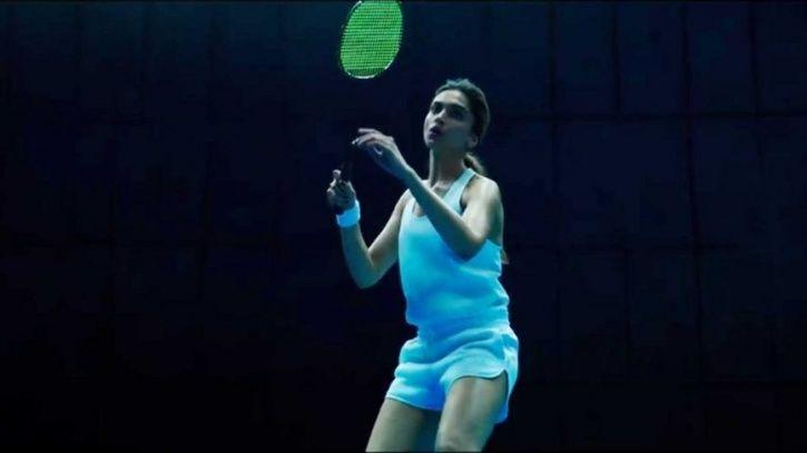 Deepika Padukone playing badminton.