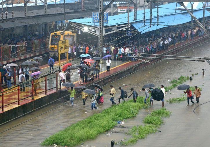Mumbai railway station is waterlogged.