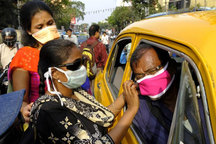 Wearing Face Mask on car