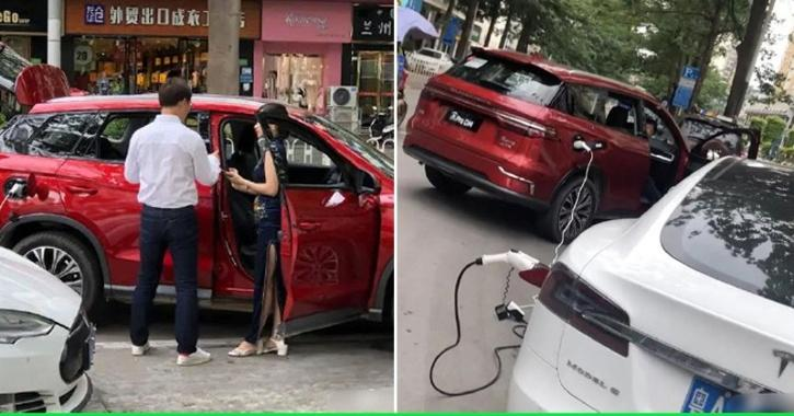 Tesla Model S charge via BYD PHEV