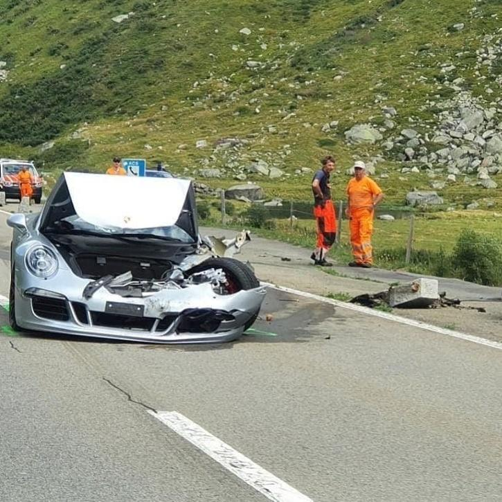 Car heavily damaged in crash