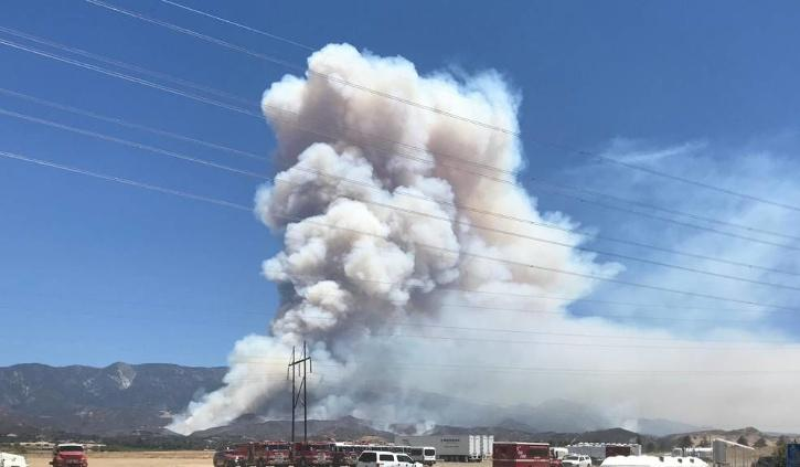 View of the Apple Fire from Noble Creek Park,
