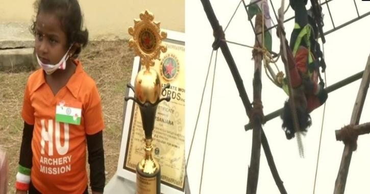 5-year-old girl from Chennai hits 111 arrows being upside down