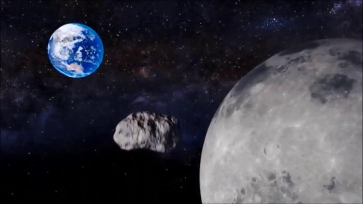 Asteroid between earth and moon