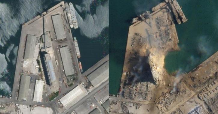 Beirut Port before and after explosion