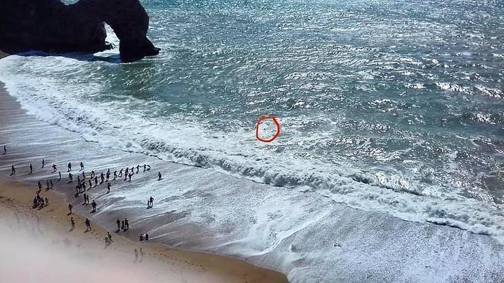 Beachgoer form human chain