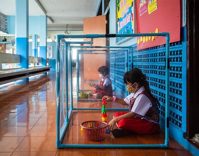 Nursery kids in play areas