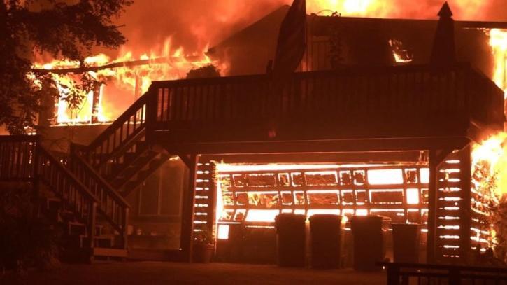 California Wildfire Burns Down Home