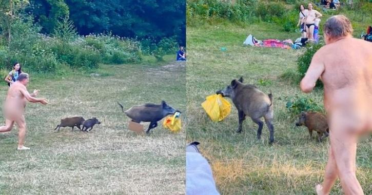Naked man chase wild boar