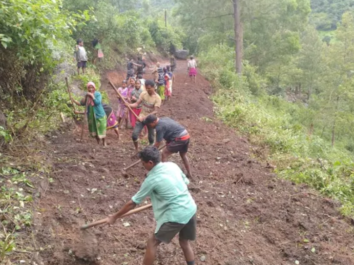 Fed up with waiting, tribal villagers in Andhra Pradesh pool money and construct road