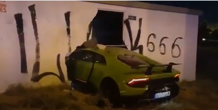 Car rammed into wall