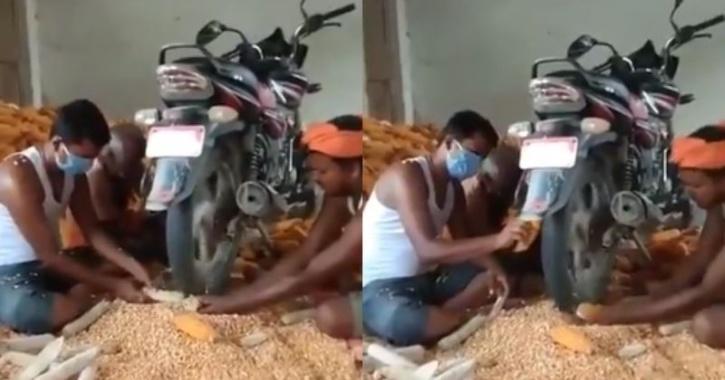 men using bike tyre