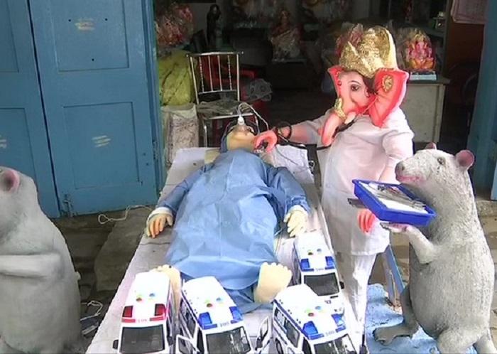 Ganesh idol dressed as doctor