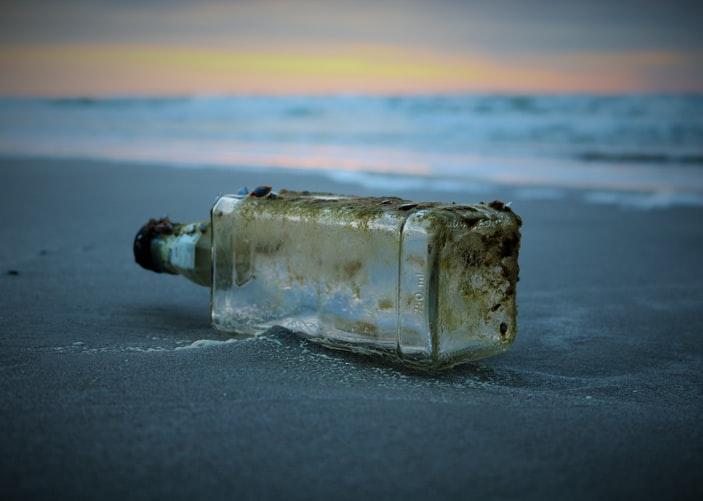 Message bottle on beach