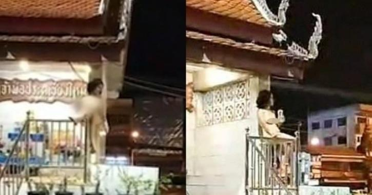 Naked woman on Buddhist shrine