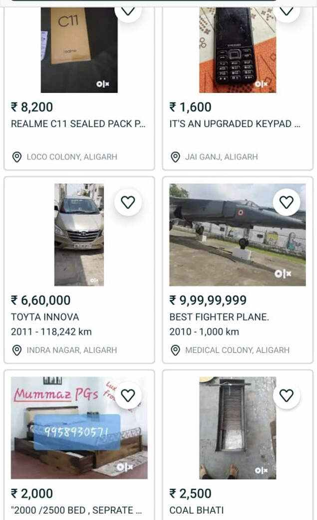 OLX listing of the plane