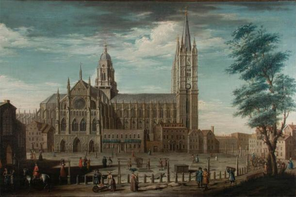 Section of painting of Westminster Abbey by Pietro Fabris, which depicts the Great Sacristy