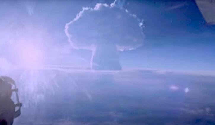 Tsar bomb blast creating mushroom cloud