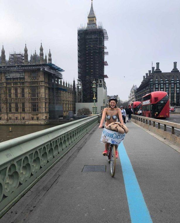 Kerri Barnes cycled around London in her birthday suit for a cause