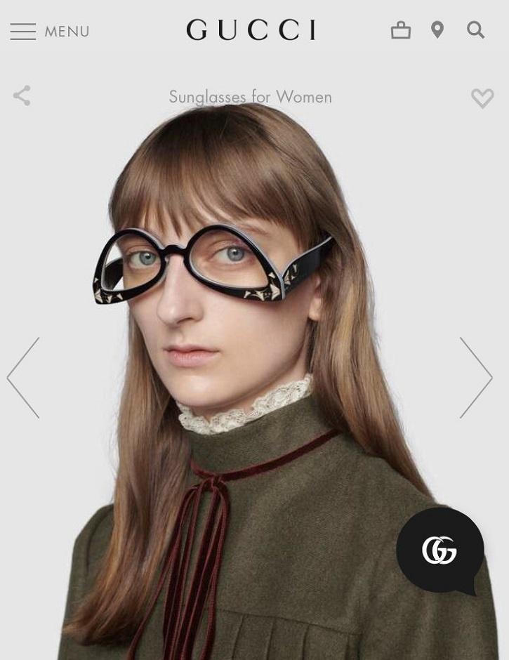 Gucci upside down glasses