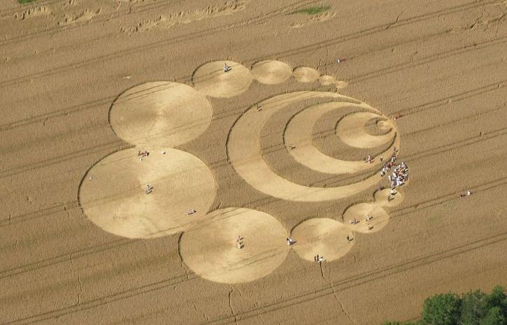 Aerial view of crop circles in Switzerland