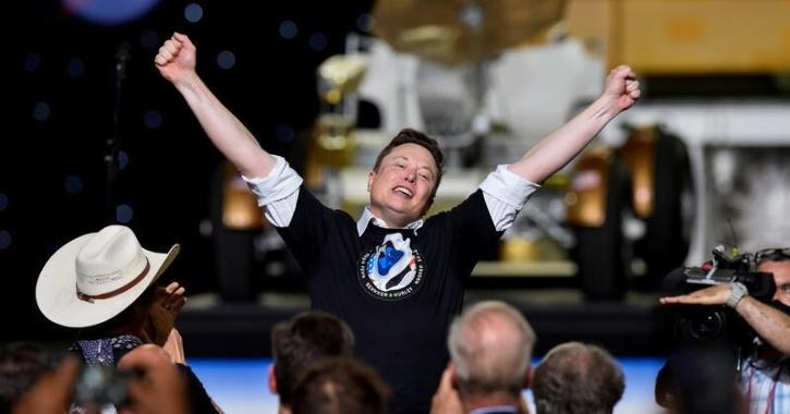 SpaceX CEO Elon Musk celebrates