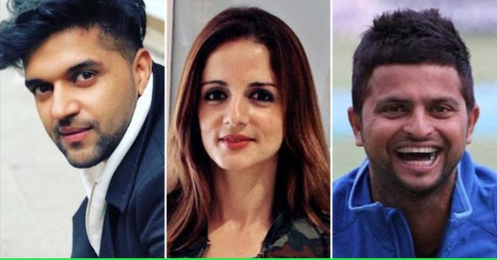 Guru Randhawa, Sussanne Khan and Suresh Raina / Indiatimes