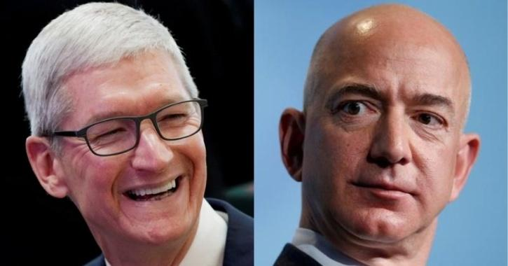 As of now, Apple is trading at 34 times projected 2021 profit, up from 10 at the beginning of 2019. Amazon is valued at 56 times estimated earnings.