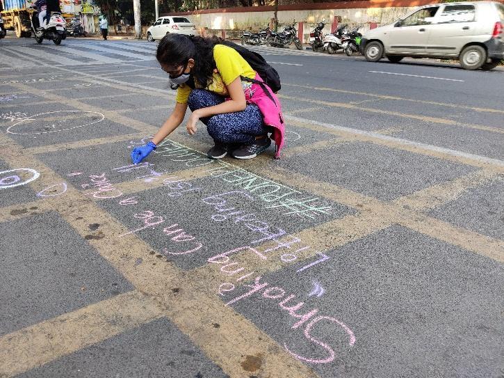Pune Ploggers, Cigarette Butt Pollution, Cigarette Butt Pollution Plastic, Chalk Of Shame, Chalk Of Shame Pune, Vivek Gurav Pune