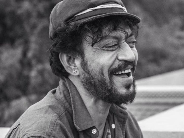 A black and white still of Irrfan Khan.